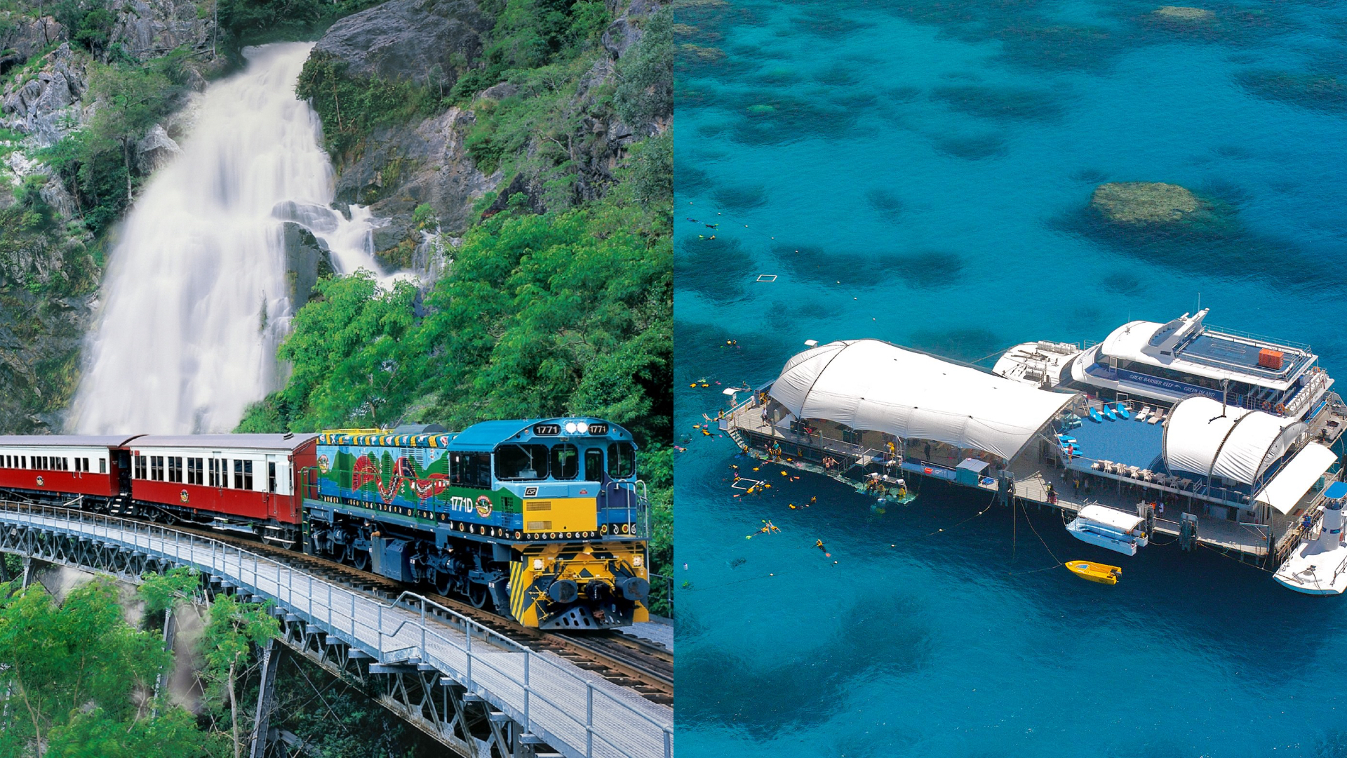 Kuranda (Skyrail & Train) + Green Island and Great Barrier Reef – 2 Day Package